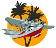 Cartoon Retro Sea Plane Royalty Free Stock Images