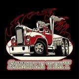 Cartoon retro semi truck Royalty Free Stock Image