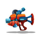Cartoon retro space blaster, ray gun, laser weapon. Royalty Free Stock Photo