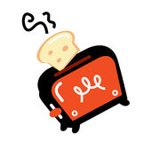 Cartoon retro toaster. Retro toaster, vector illustration. Retro toaster orange and black color Stock Illustration