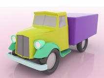 Cartoon truck fast delivery icon isolated on white background. Cartoon retro truck fast delivery icon isolated on white background. old classic car. 3d rendering Stock Photography