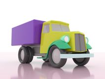 Cartoon truck fast delivery icon isolated on white background. Cartoon retro truck fast delivery icon isolated on white background. old classic car. 3d rendering Stock Photos