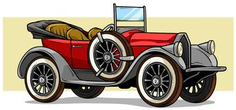 Cartoon retro vintage luxury convertible car. Cartoon retro vintage luxury red convertible car with spare wheel on yellow background. Vector icon royalty free illustration