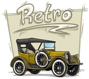Cartoon retro vintage luxury convertible car. Cartoon retro vintage luxury yellow convertible car with spare wheel on gray background. Vector icon royalty free illustration