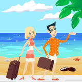 Cartoon Retro Vintage Male and Female Characters Royalty Free Stock Image