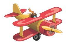 Cartoon Retro Vintage Plane. EPS-10 vector format. Cartoon Retro Red and Yellow Plane. EPS-10 vector format Stock Photography