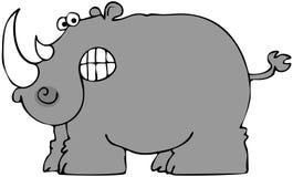 Cartoon Rhino. This illustration depicts a gray rhinoceros baring teeth Stock Photo