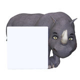 Cartoon rhino with a blank sign Royalty Free Stock Image