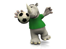 Cartoon rhino catching soccer ball. Royalty Free Stock Photos