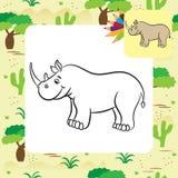 Cartoon rhino. Coloring page Stock Photos