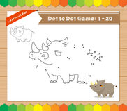 Cartoon Rhino. Dot to dot educational game for kids Royalty Free Stock Image