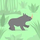Cartoon Rhino Green Jungle Flat Vector Stock Image