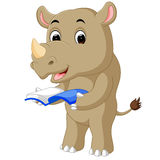 A cartoon rhino holding a book. Illustration of A cartoon rhino holding a book vector illustration