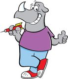 Cartoon rhino holding a dart while giving thumbs up. Cartoon illustration of a rhino holding a dart while giving thumbs up stock illustration