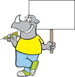Cartoon rhino holding a dart and a sign. Cartoon illustration of a rhino holding a dart and a sign stock illustration