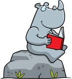 Cartoon Rhino Reading Stock Photo