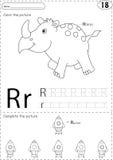 Cartoon rhino and rocket. Alphabet tracing worksheet: writing A- Stock Image