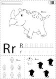 Cartoon rhino, rocket and raven. Alphabet tracing worksheet: writing A-Z and educational game for kids vector illustration