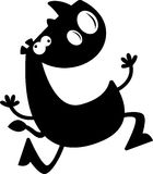 Cartoon Rhino Silhouette Crazy. A cartoon silhouette of a rhino running and looking crazy Stock Image