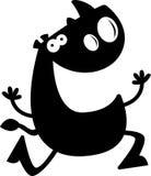 Cartoon Rhino Silhouette Running Stock Images