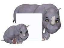 Cartoon rhino und rhino baby with a blank board Royalty Free Stock Photos