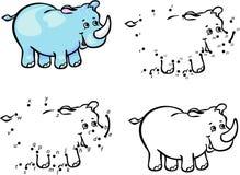 Cartoon rhino. Vector illustration. Coloring and dot to dot game Stock Photos