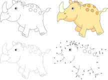 Cartoon rhino. Vector illustration. Dot to dot game for kids Stock Image
