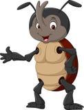 Cartoon rhinoceros beetle waving hand stock illustration