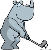 Cartoon Rhinoceros Golfing Stock Photos