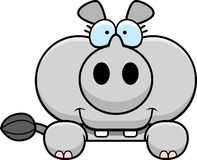 Cartoon Rhinoceros Peeking Royalty Free Stock Image