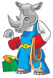 Rhinoceros is the plumber. Cartoon rhinoceros is the plumber with Royalty Free Stock Image