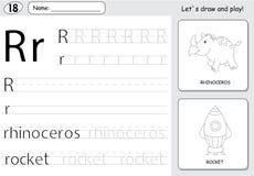 Cartoon rhinoceros and rocket. Alphabet tracing worksheet: writi Stock Image