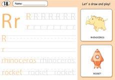 Cartoon rhinoceros and rocket. Alphabet tracing worksheet Royalty Free Stock Photos
