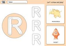 Cartoon rhinoceros and rocket. Alphabet tracing worksheet Stock Images