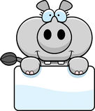 Cartoon Rhinoceros Sign Royalty Free Stock Photos
