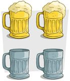 Cartoon ribbed colorful beer mugs vector icon set Royalty Free Stock Images