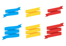 Cartoon ribbon set vector illustration. Colorful scroll ribbons banners isolated Stock Photo