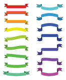 Cartoon ribbon set vector illustration. Colorful scroll ribbons banners isolated  Stock Photos