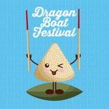 Cartoon rice dumpling with chopstick dragon boat festival. Vector illustration Royalty Free Stock Photography