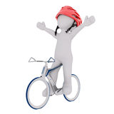 Cartoon Rider Celebrating on Race Bicycle Royalty Free Stock Images