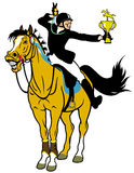 Cartoon rider winner Royalty Free Stock Photo