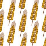 Cartoon ripe cereal ears seamless pattern Stock Photos