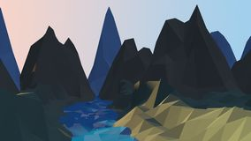Cartoon River And Mountains Low Poly Background royalty free stock images