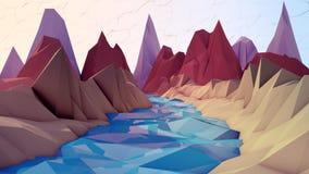 Cartoon River And Mountains Royalty Free Stock Photos