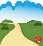 Cartoon road. And green field background Royalty Free Stock Image
