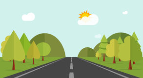 Cartoon road across green forest hills, mountains, nature landscape, highway Stock Photography