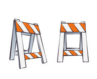 Cartoon Road Barriers Stock Image