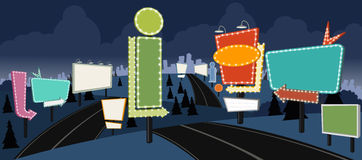 Cartoon road with billboards at night Royalty Free Stock Images