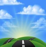 Cartoon Road Scene Royalty Free Stock Photography