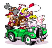 Cartoon road trip. Cartoon caricature of family road trip with mom, dad, kids and pets in convertible car Stock Image